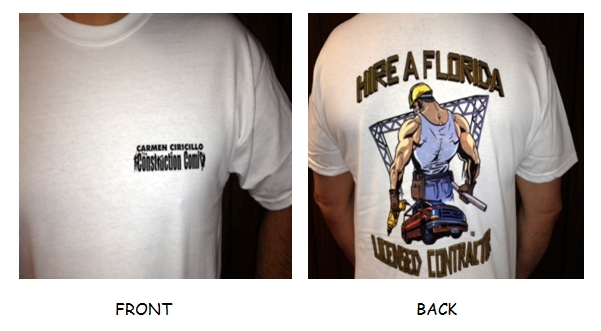 POCKET T-SHIRT-Big Guy Logo - BIG GUY LOGO-Hire a Florida Licensed Contractor on back of white shirt