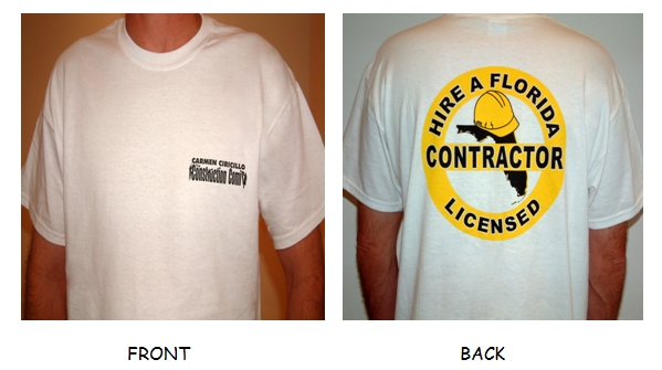POCKET T-SHIRT-Yellow Round Logo - YELLOW ROUND LOGO-Hire a Florida Licensed Contractor on back of white shirt